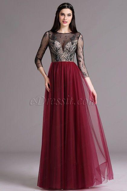 eDressit Burgundy Embroidery Illusion Neckline Beaded Prom Dress (02164817) 576ac9f2c