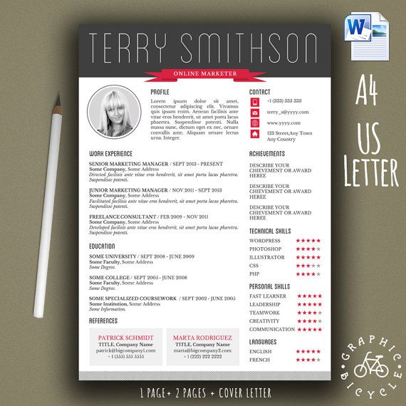 creative resume template with photo for by graphicbicycle
