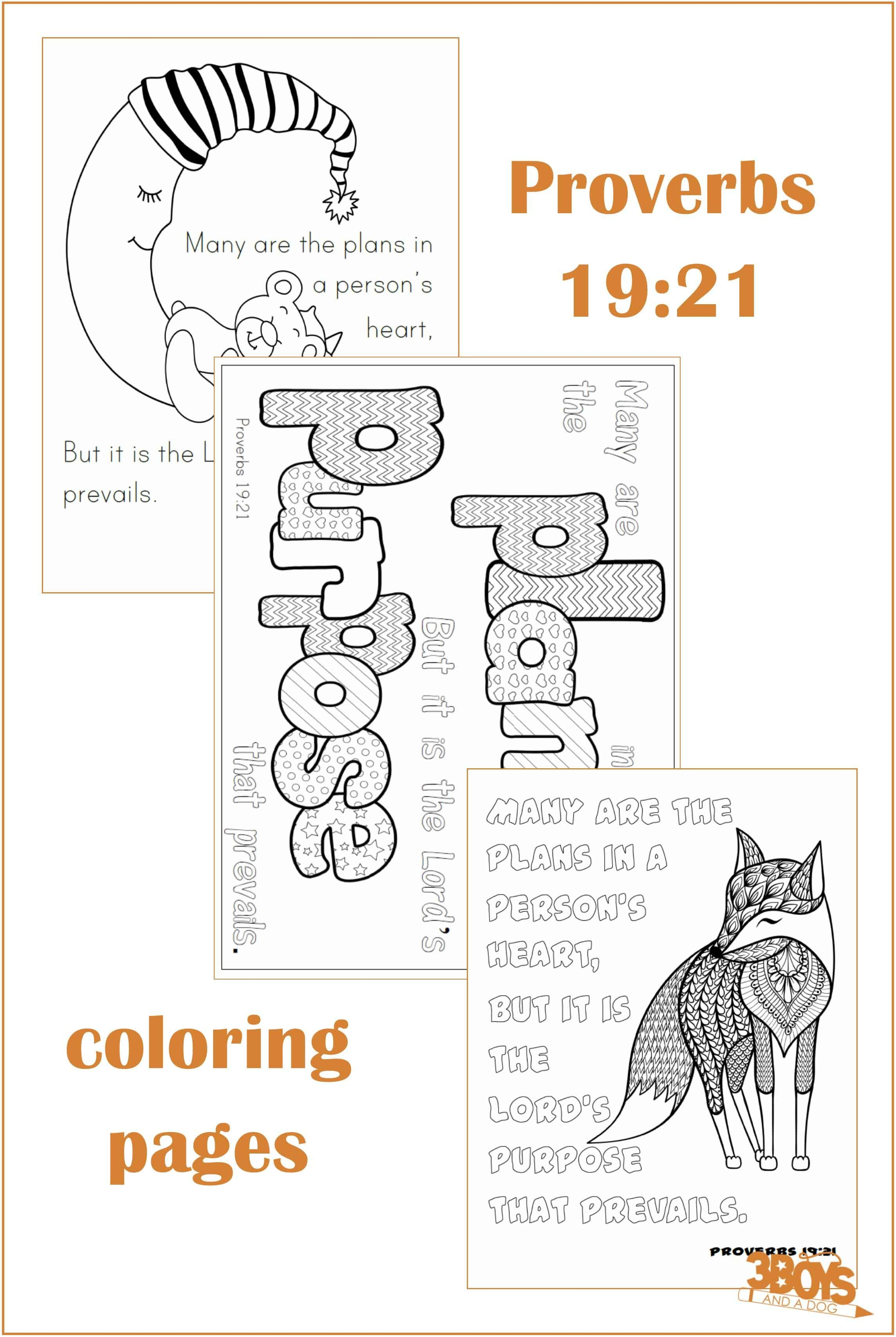 Proverbs 19 21 Coloring Pages
