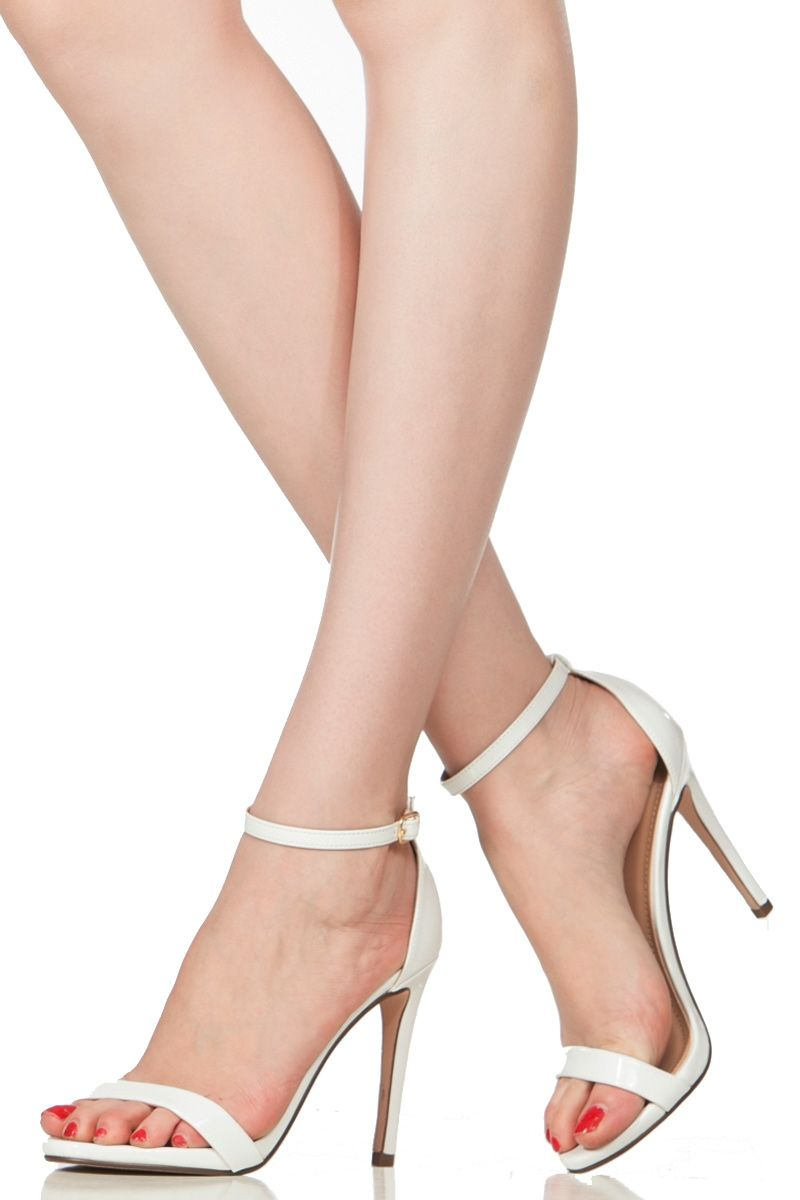 221b05c4c4a White Faux Patent Leather Ankle Strap Single Sole Heels @ Cicihot ...