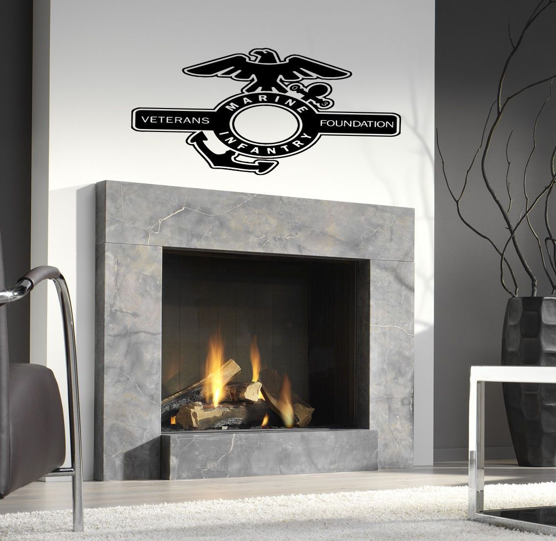 Fireplace Decal Marine Decal Sticker Marine Flag Wall Art Marines Wall