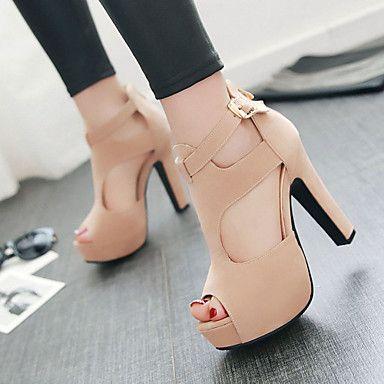 2699 Womens Shoes Heel Heels   Peep Toe   Platform Sandals   Heels  Outdoor   Dress   Casual Black   Red   Almond