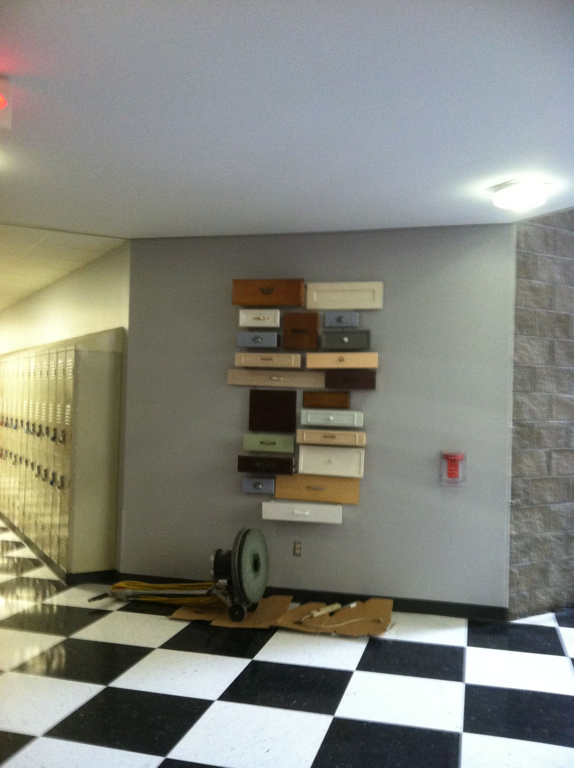 Great Reuse Of Cabinet Drawers Art Installation At Hspva With Images Cabinet Drawers Home Decor Cabinet