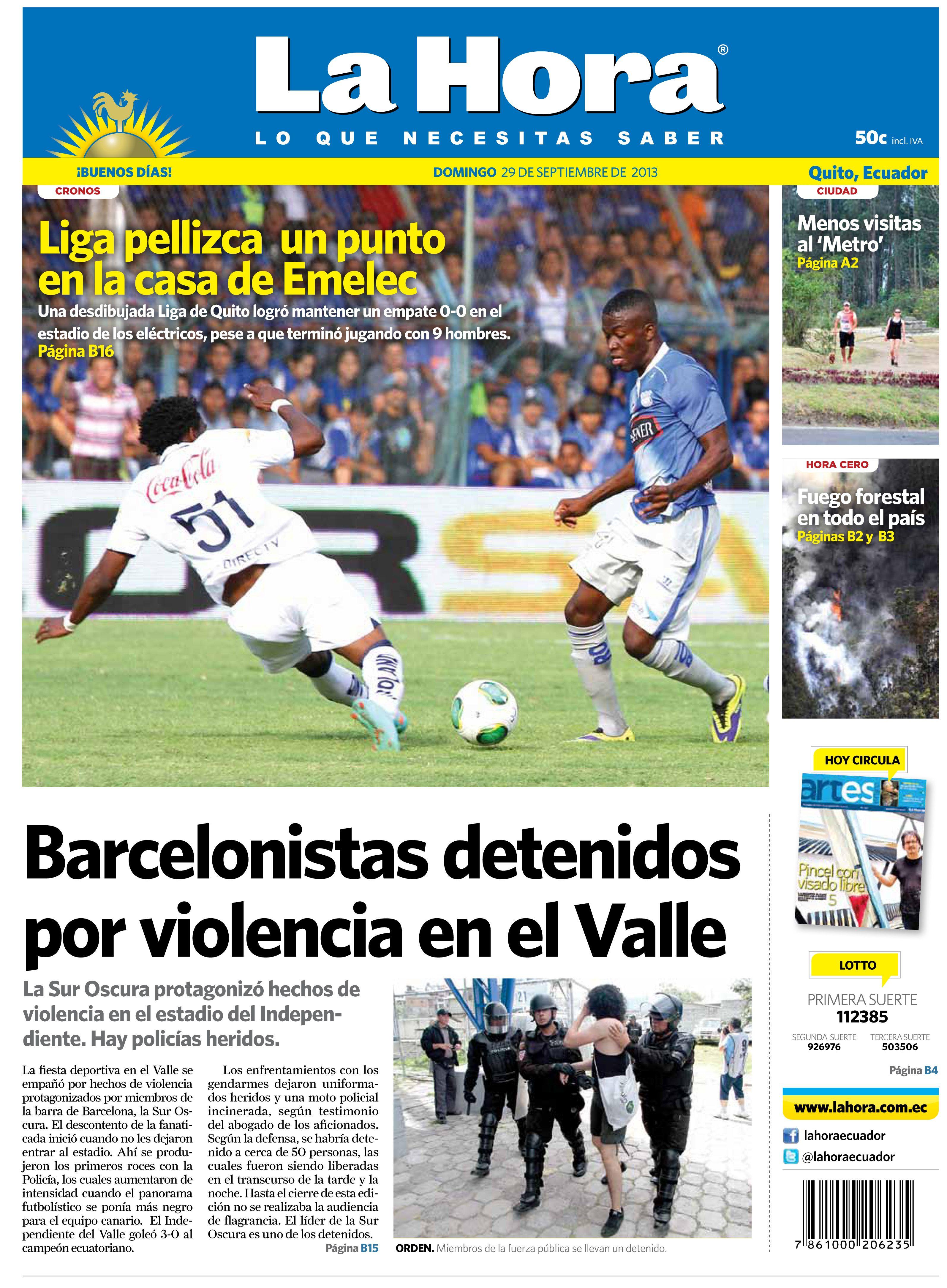 En portada el empate de Liga de Quito ante el Emelec. 40 hinchas de Barcelona detenidos