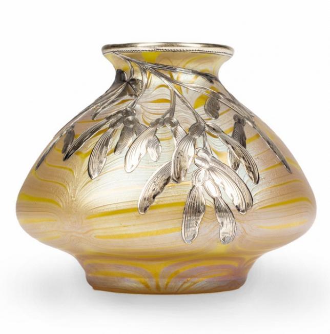 Loetz Vase C 1900 Phenomen Gre 853780 Silver Overlay Of Maple