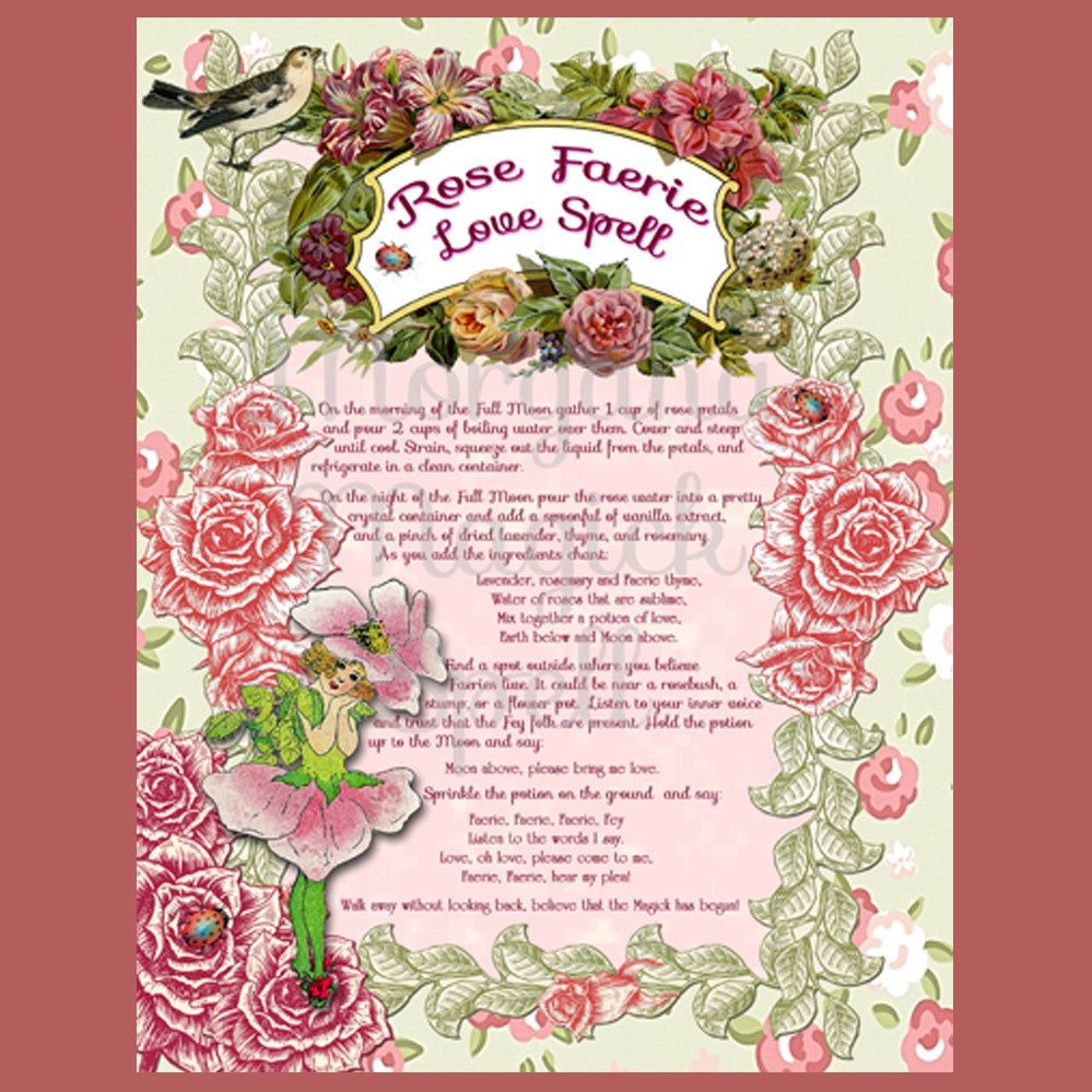 ROSE FAERIE LOVE Spell, Digital Download, Faerie,  Book of Shadows Page, Grimoire, Scrapbook, Spells by MorganaMagickSpell on Etsy