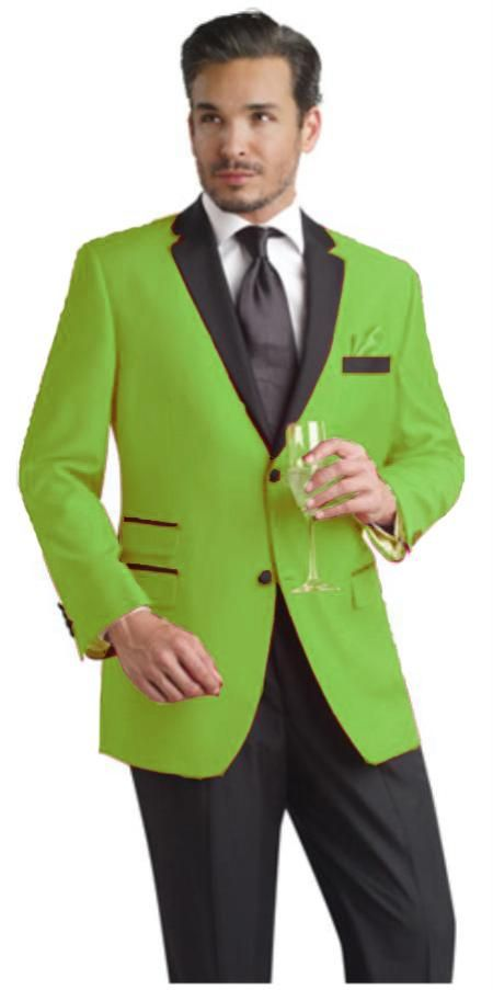 SKU#APF61 Apple Green Two Button Notch Party Suit & Tuxedo