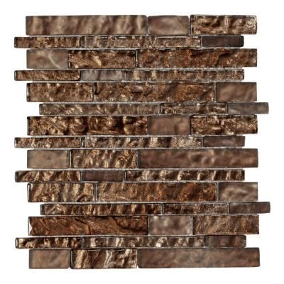 Jeffrey Court Bronze Trophy Foil 10 75 In X 12 In Glass Mosaic Wall Tile 99613 At The Home Depot Tablet
