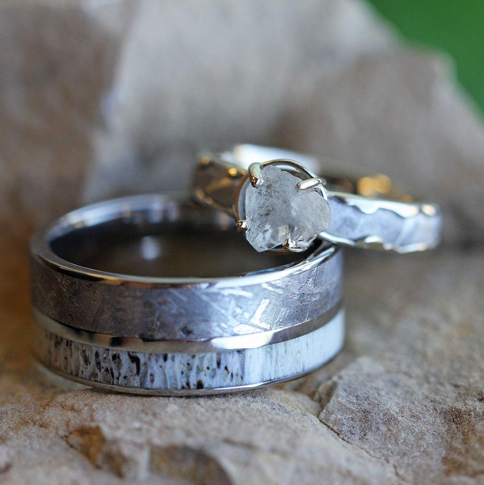 Meteorite Wedding Ring Set With Rough Diamond Ring And Antler