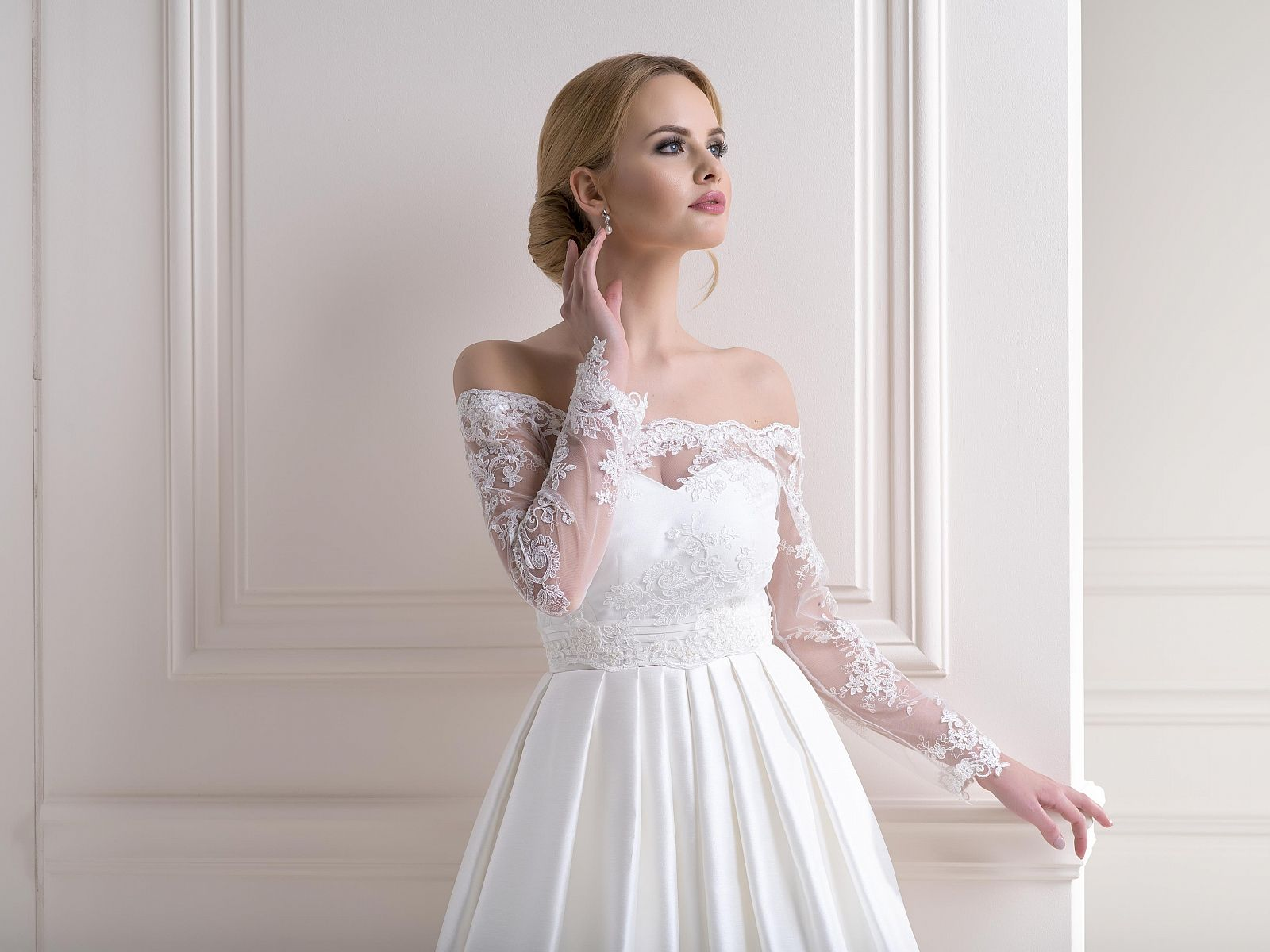 Lace Bardot Bolero Dress Topper Long Sleeve Rear Tie. A