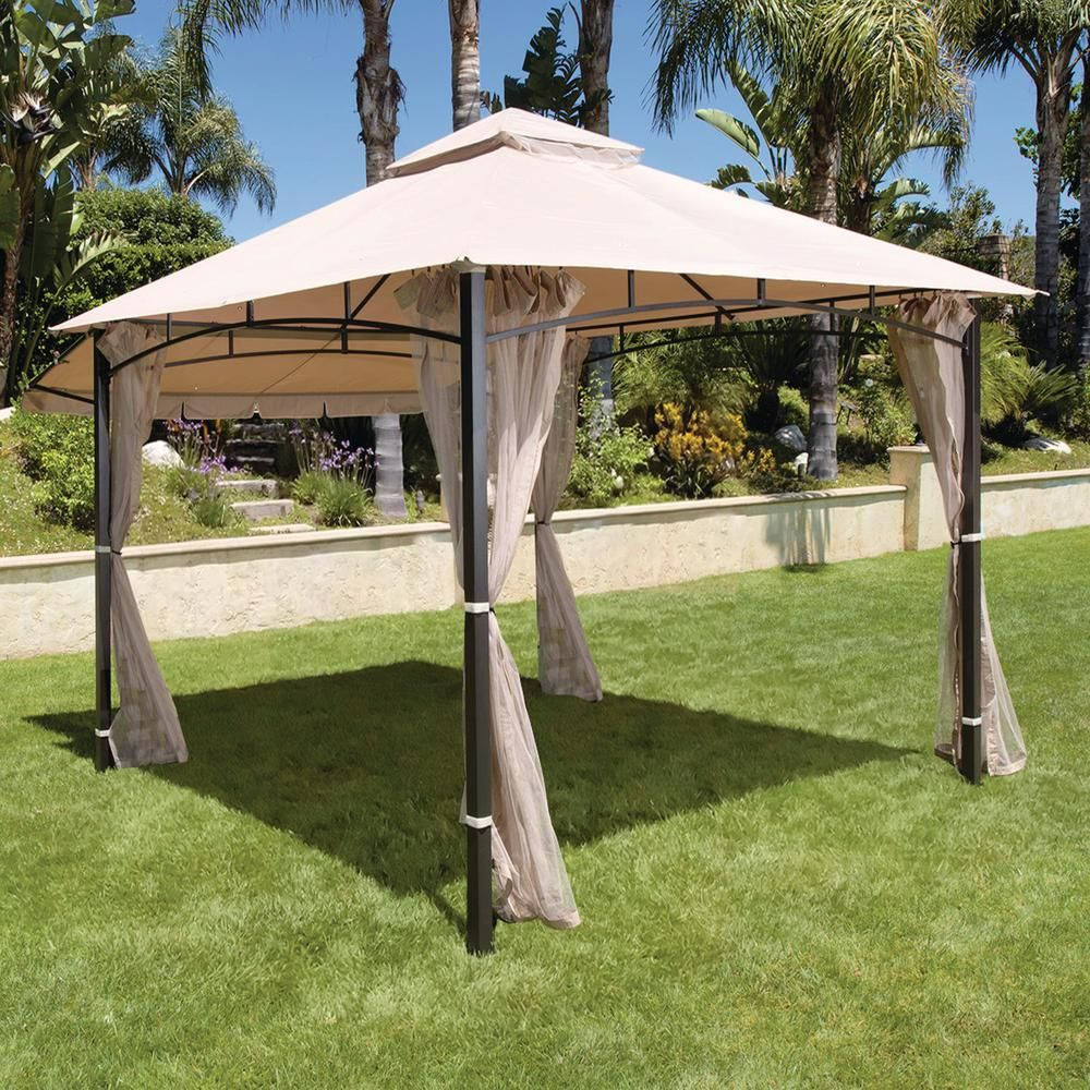 Hampton Bay Santa Maria 13 Ft X 10 Ft Roof Style Canopy Gazebo 5lgz6526 V4 The Home Depot Backyard Canopy Canopy Tent Outdoor Gazebo Canopy