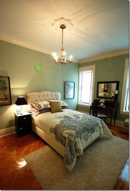 fetching image of bedroom decoration using sage green | Benjamin Moore Saybrook Sage | Sage green bedroom, Green ...