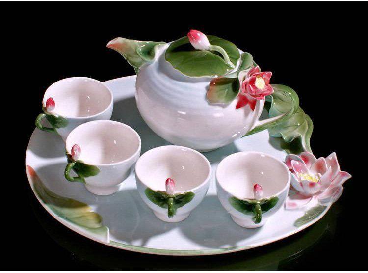 Jogo de Xícaras de Chá de Porcelana