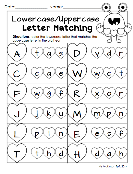 February Printables Kindergarten Literacy And Math Kindergarten Literacy Letter Matching Worksheet Alphabet Worksheets