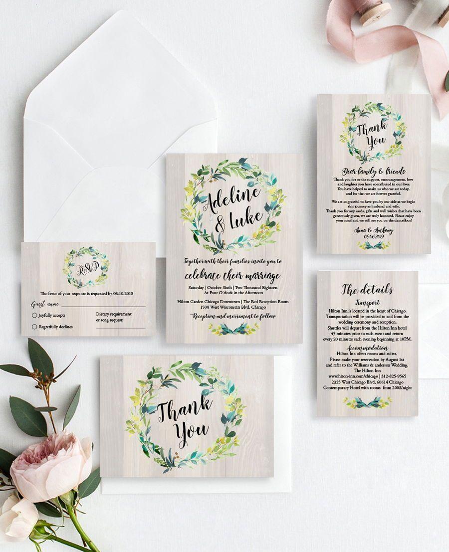 Wedding decorations set october 2018 Beautiful Greenery Wedding Invitation Set With botanical wreath and