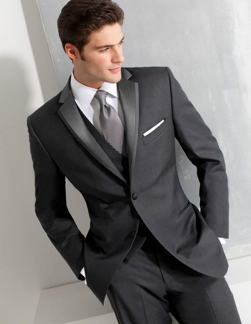 charcoal grey men suits business wedding suits custom made