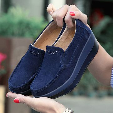 4cb644fdc0b Large Size Rocker Sole Suede Slip On Casual Shoes