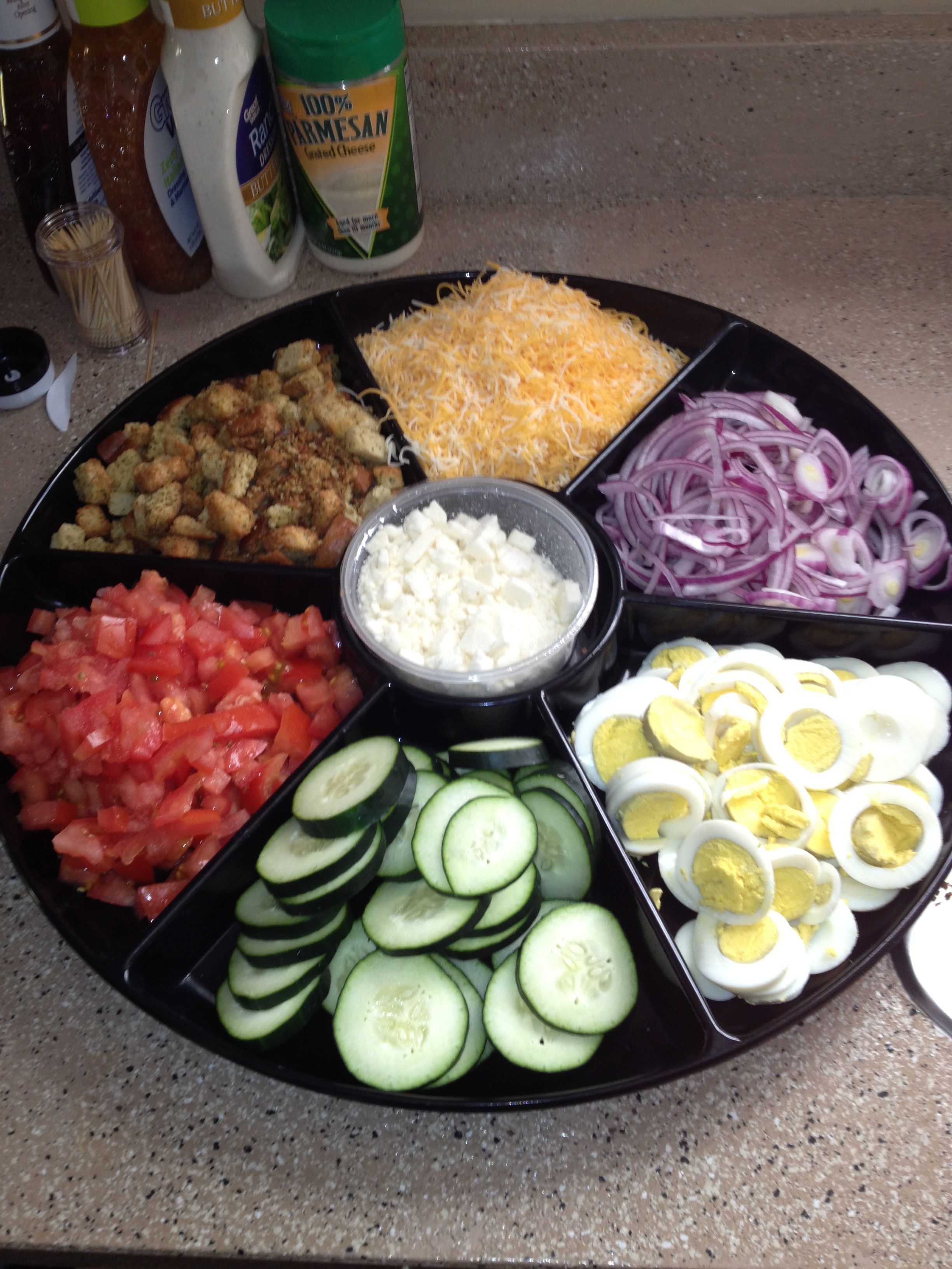 Perfect way to create a salad bar at a party this can be for Food bar ideas for a party