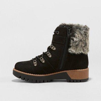 be7d38777de Women's Deanna Faux Fur Lace Up Hiker Boots - Universal Thread Black ...