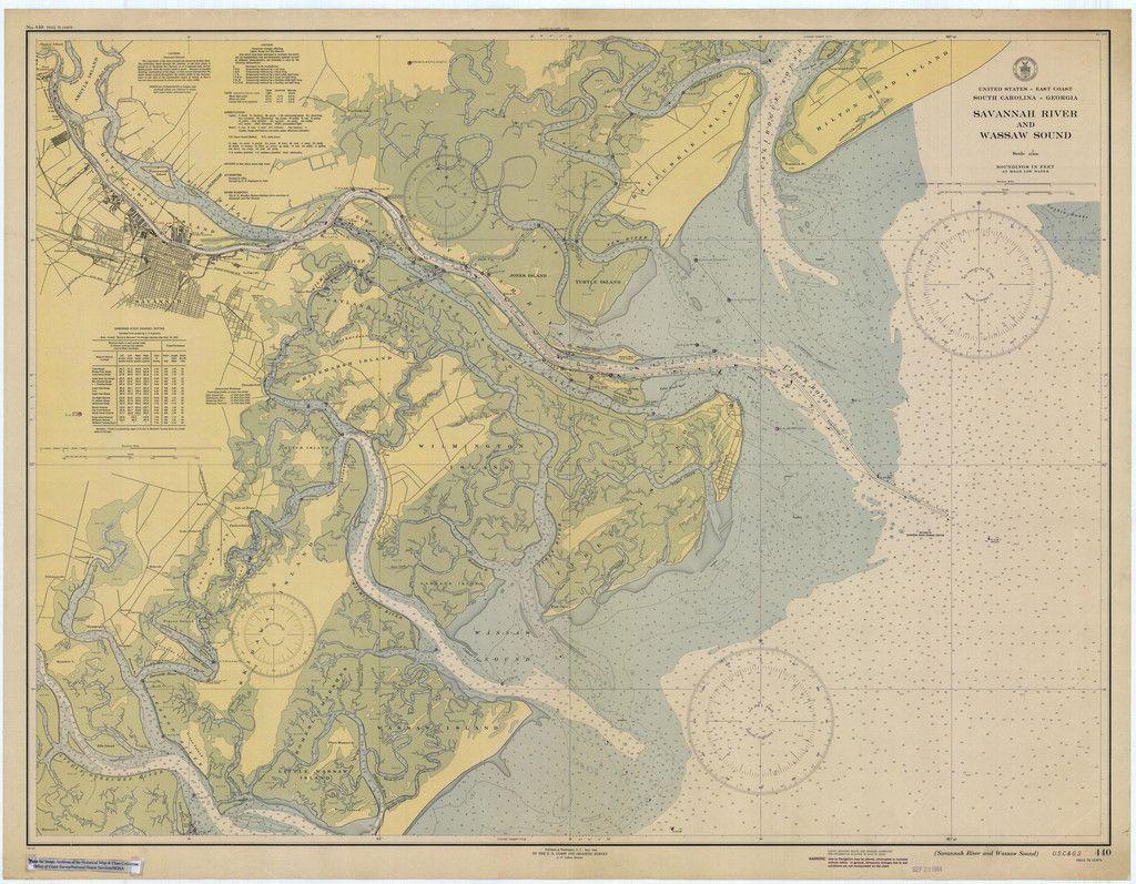 Tybee Island Savannah River Historical Map Tybee Island - Georgia map 1921