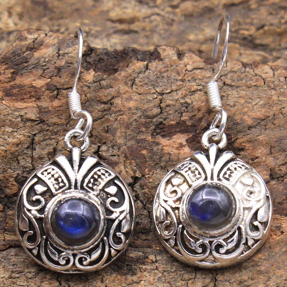 "Dangle LONG Earrings 7 mm Round RAINBOW MOONSTONE 925 Silver Ladies Jewelery 2/"""