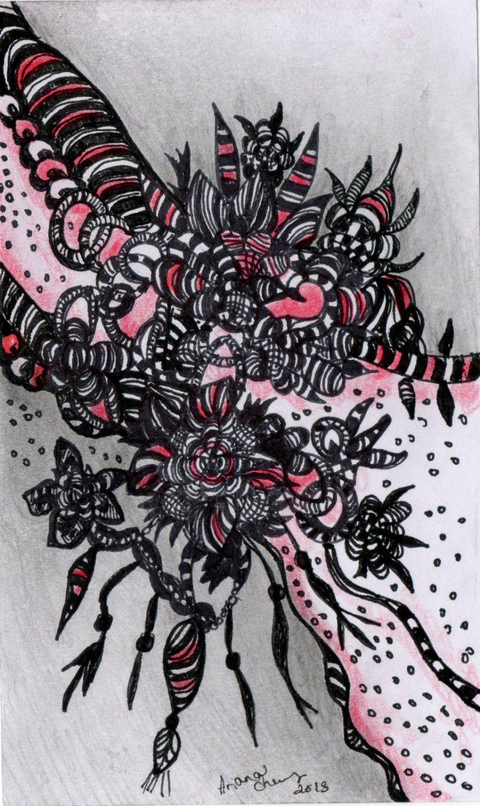 Art original abstract drawing ink zentangle inspired flower black