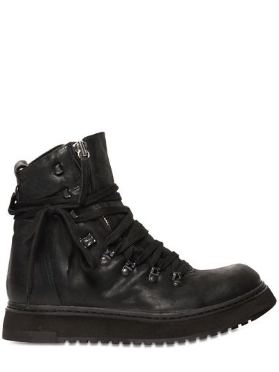 $532, Cinzia Araia 35mm Leather Mountain Boots. Sold by LUISAVIAROMA. Click for more info: https://lookastic.com/men/shop_items/69099/redirect