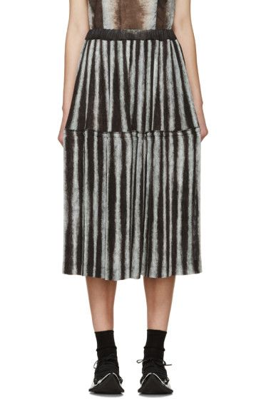 Comme des Garçons - Black & Grey Pleated Ink Jet Skirt
