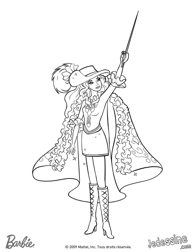 Barbie and Three Musketeers. Barbie coloring page.201 | Barbie World ...