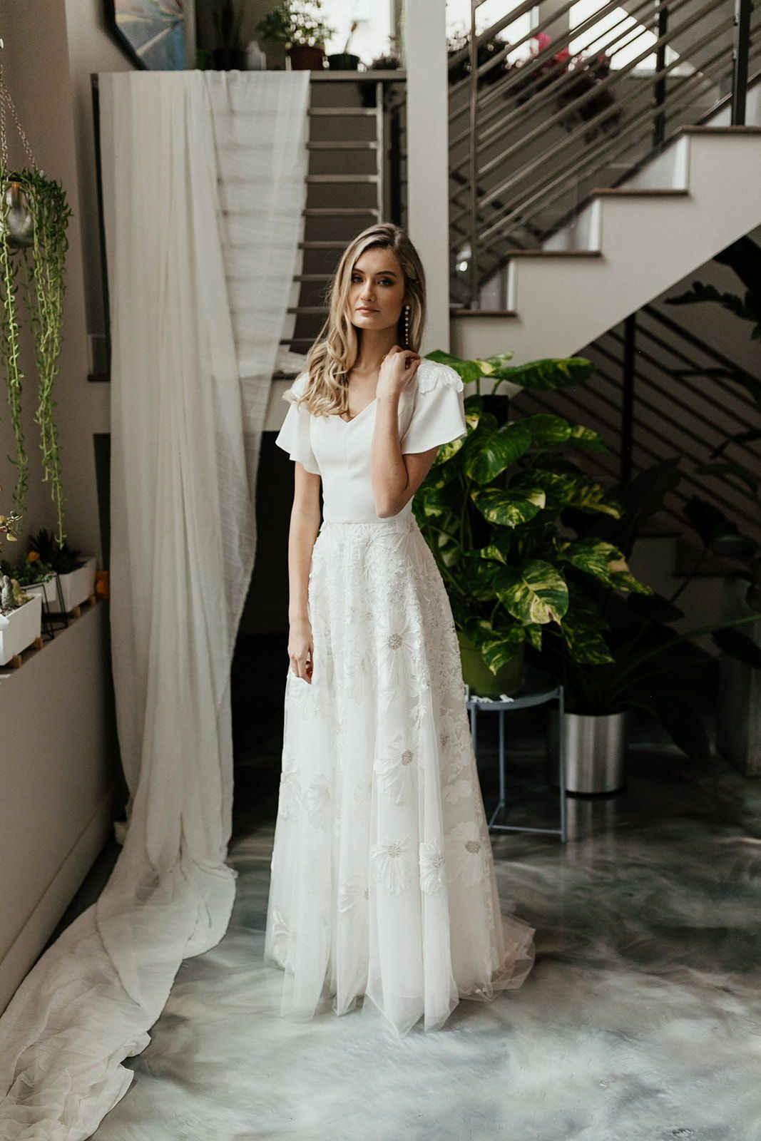 Modest Wedding Dress With Floral Detail In 2020 Modest Wedding Dresses V Neck Wedding Dress Wedding Dresses Romantic