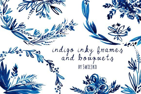 Photo of monogram card background idea – $10 – Indigo Hand painted Wreaths by swiejko on …