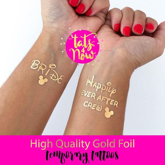 cb988a69d Great party favor for your Disney themed bachelorette party. These gold  tats are high quality and last long making a great addition to your Happily  ever ...