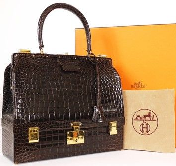 Hermes Vintage Crocodile Trunk Case Brown Travel Bag