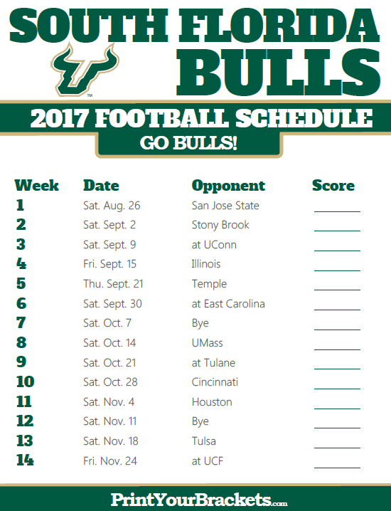 photo about Bulls Schedule Printable known as 2017 South Florida Bulls Soccer Agenda Printable