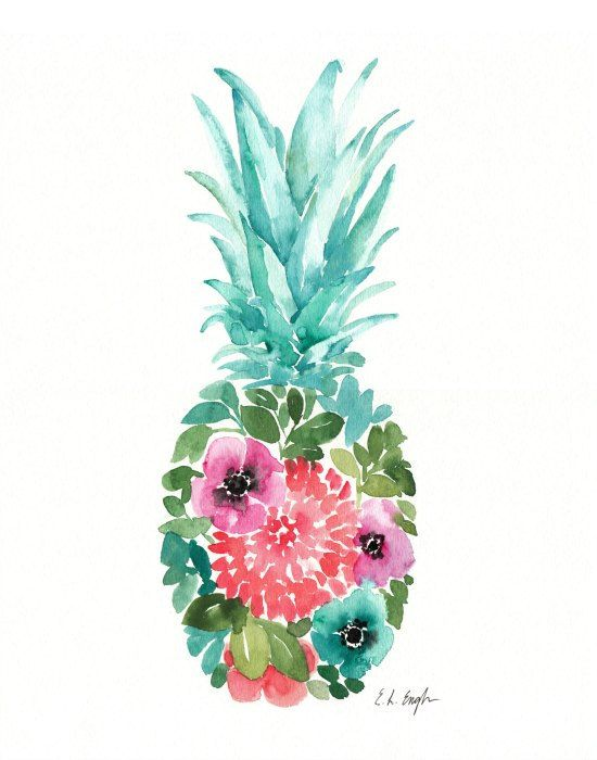 Watercolor Floral Pineapple Original Painting By
