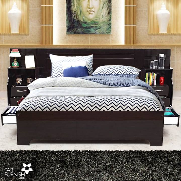 Lavishly Styled Headboard With Attached Side Tables And Drawers