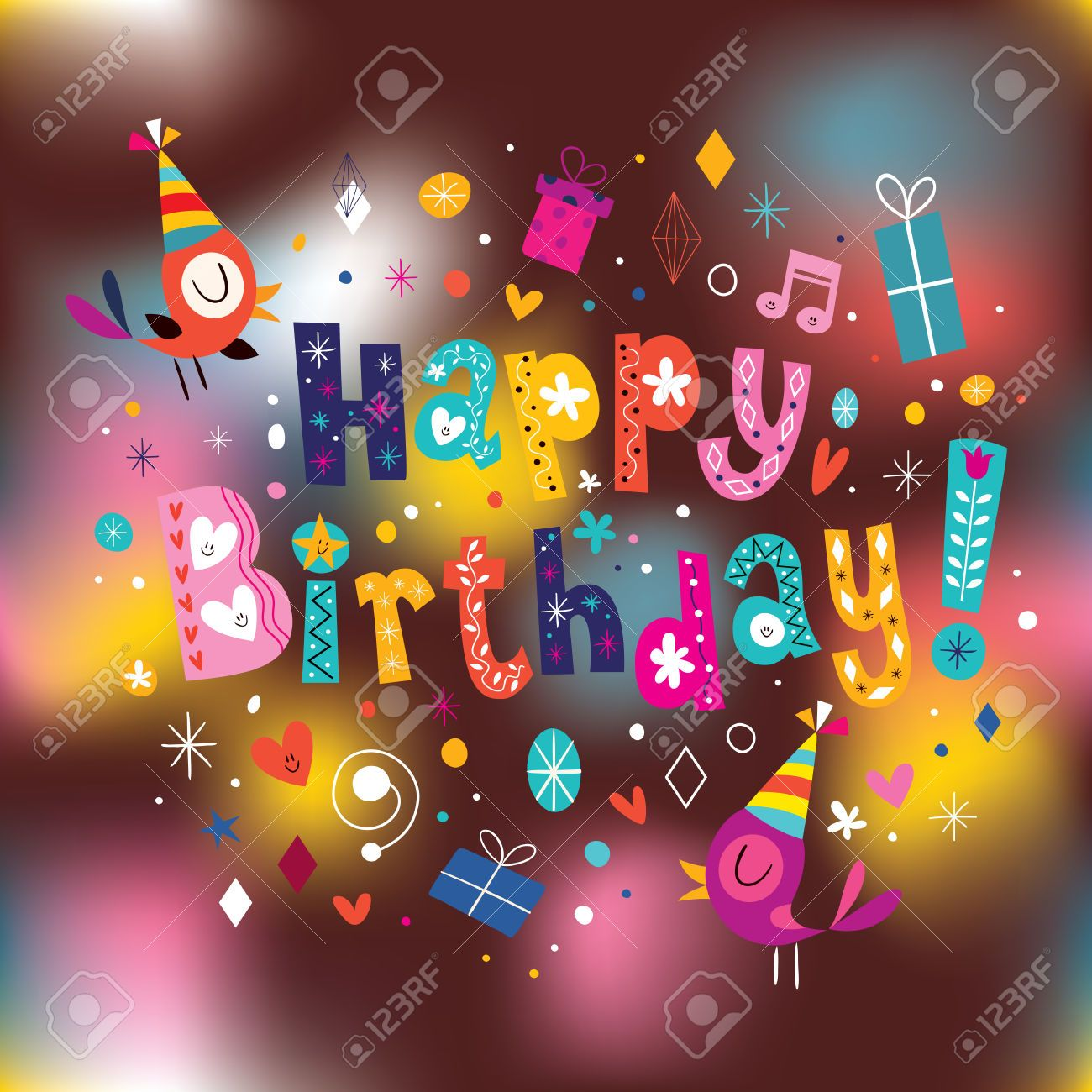 Happy birthday card with ornamental gift Free Vector – Images of Birthday Cards
