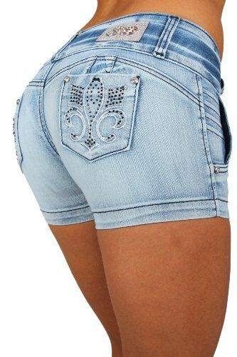 67139592330 Silver Diva Style DJ1327 SH Colombian style Super Sexy Stretch Butt lifting  Push-Up (Levanta Cola) Short Shorts Silver Diva.  26.99