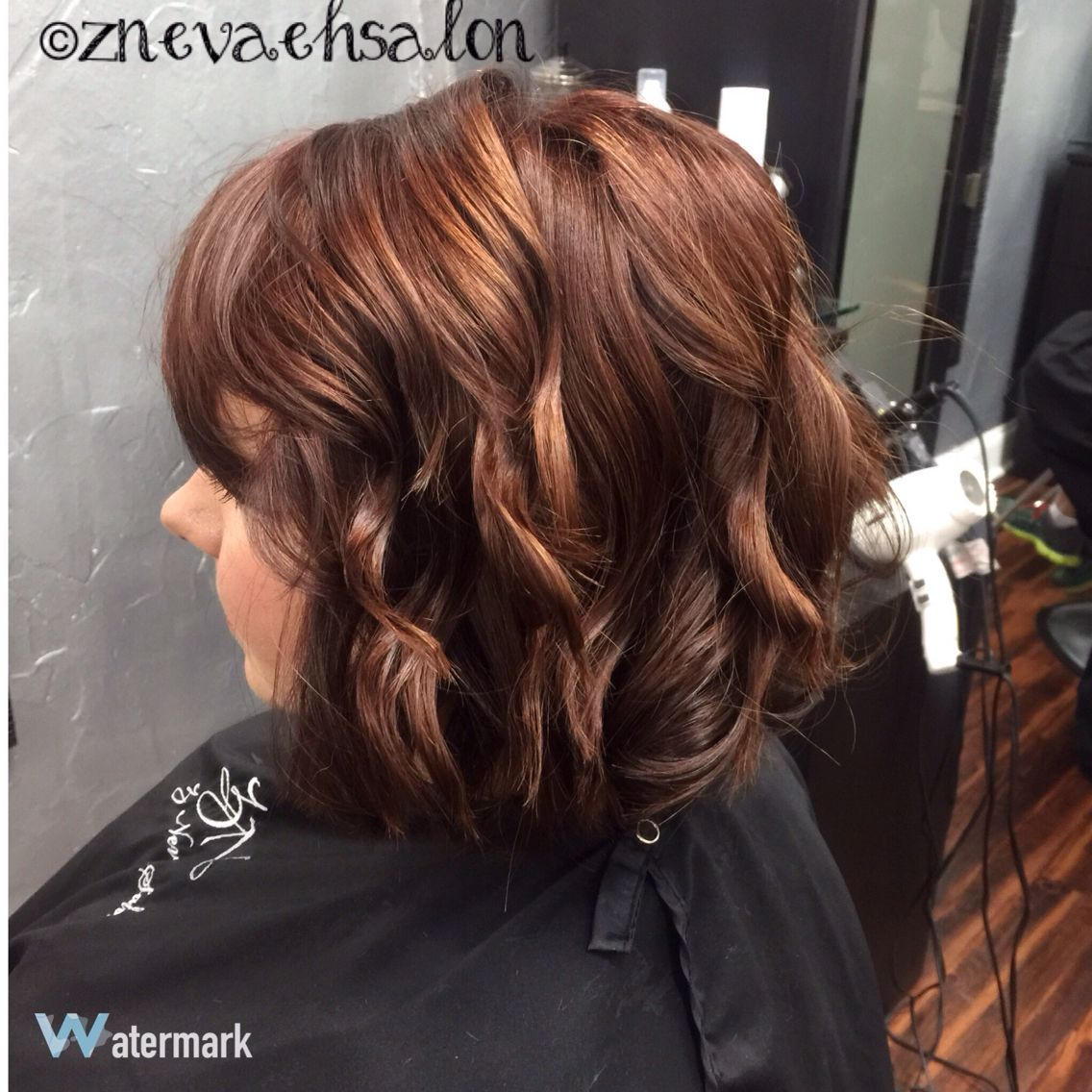 Beautiful red color u lob with beach waves znevaehsalon redhair