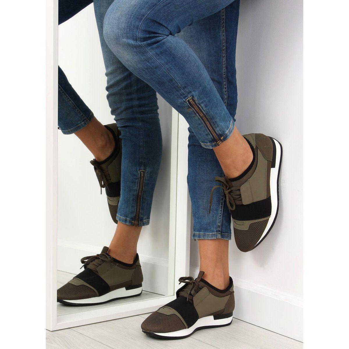 Buty Sportowe Zielone K1x063 Olive Insta Fashion Sneakers Shoes