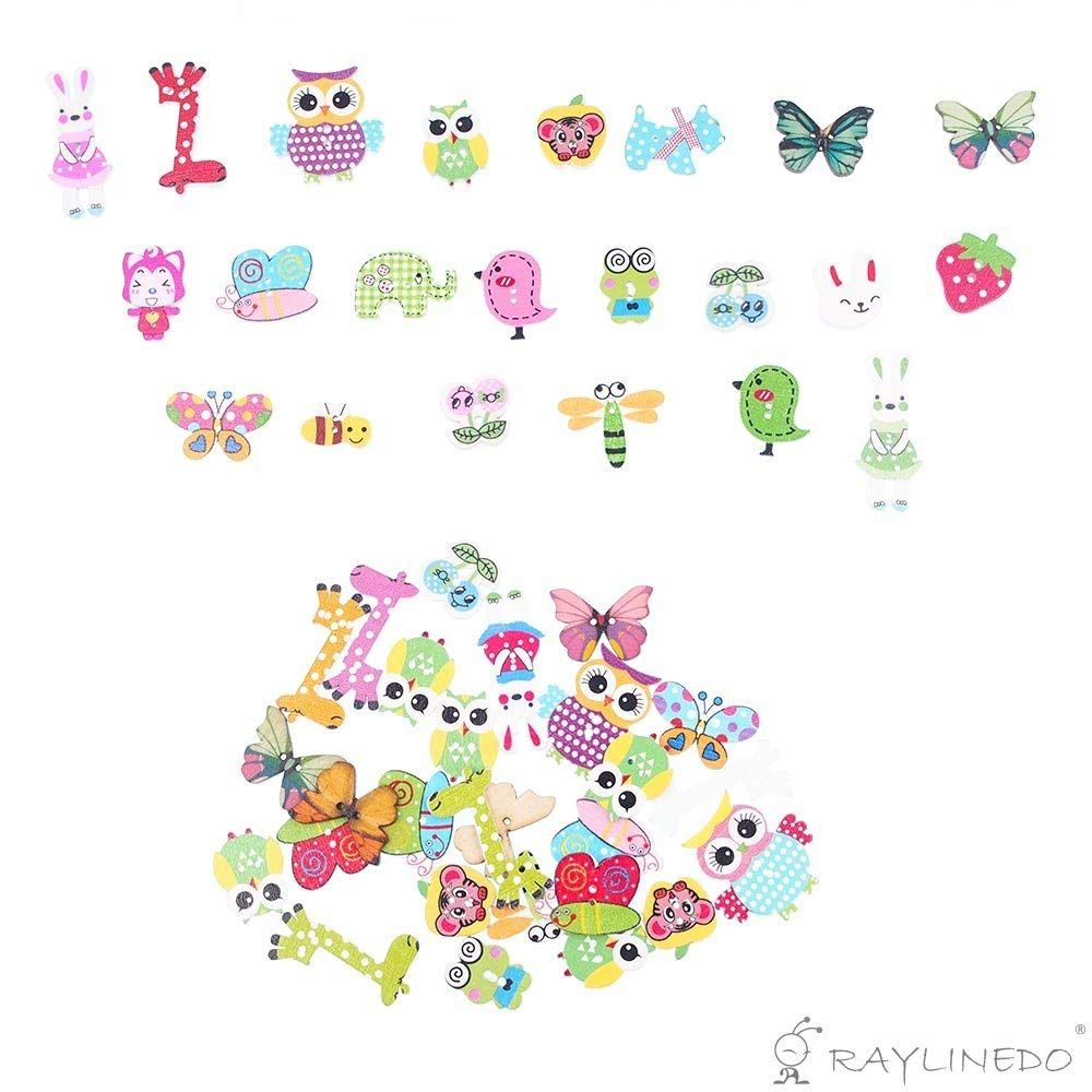 wonderful whimsy raylinedo 50 piece wooden animal buttons