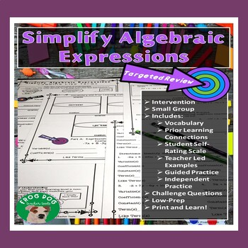 Combine Like Terms Review Printable Worksheet Intervention