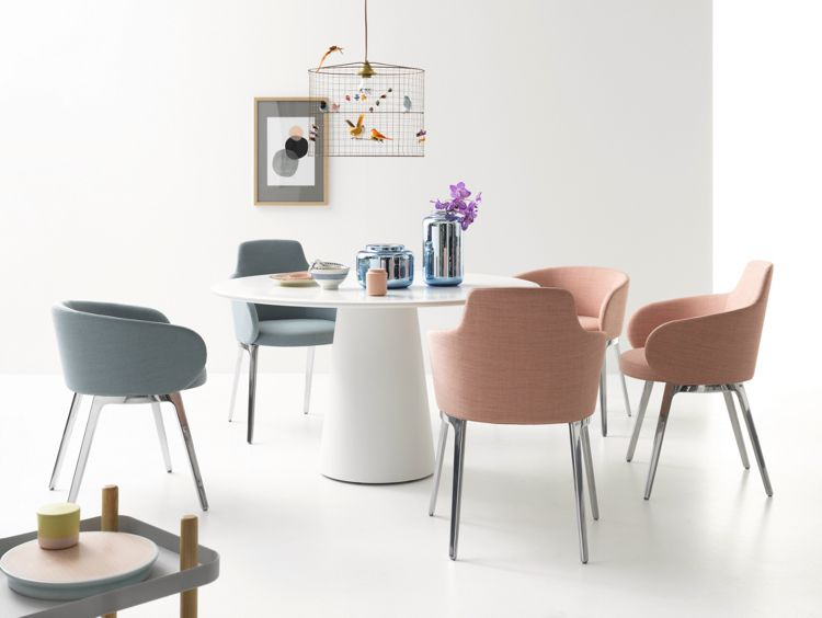 Moderne Esszimmer Stuhle Designer Grau Rosa Pastellfarben Polster