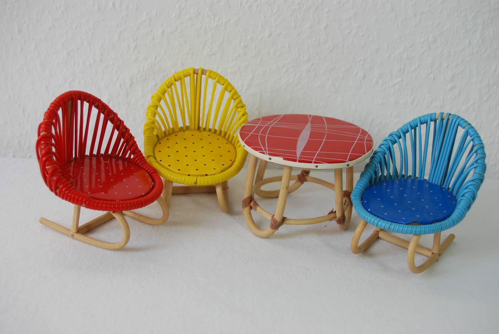 kultige sitzgruppe tisch st hle terrasse garten puppenm bel 60er ebay puppen und ihr wohnen. Black Bedroom Furniture Sets. Home Design Ideas