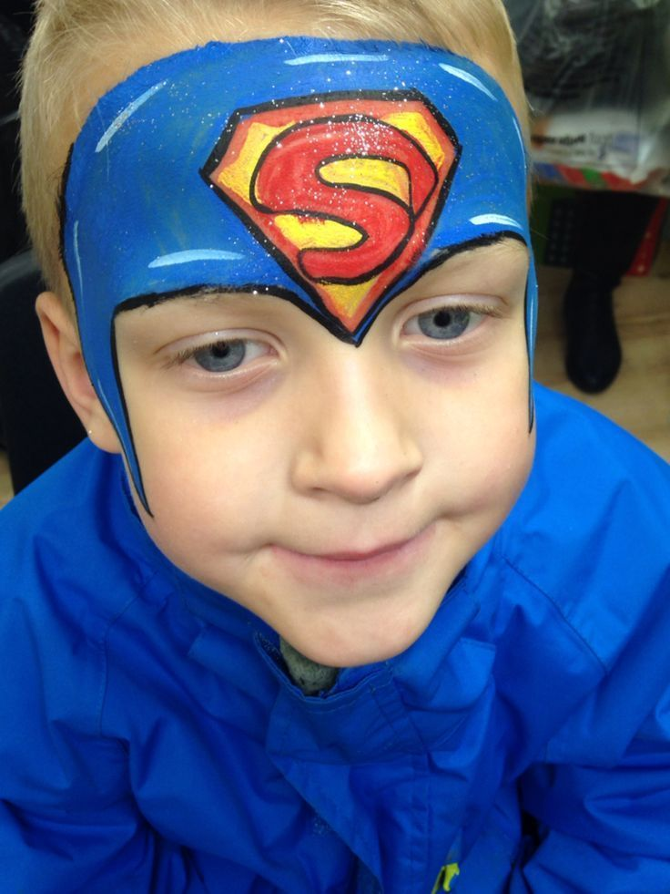 Photo of superman face painting idea boy symbol #fasching #party #mak…