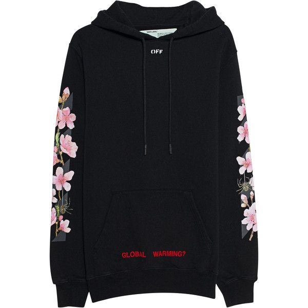 58df444f5130 OFF-WHITE C O VIRGIL ABLOH Diag Cherry Hooded Black    Cotton hoodie...  ( 550) ❤ liked on Polyvore featuring tops and hoodies