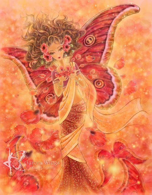"""Crimson Wings"" ©Mitzi Sato-Wiuff/Aurarian Dancer Created for the Enchanted Visions Project's monthly theme, ""Crimson Wings""."