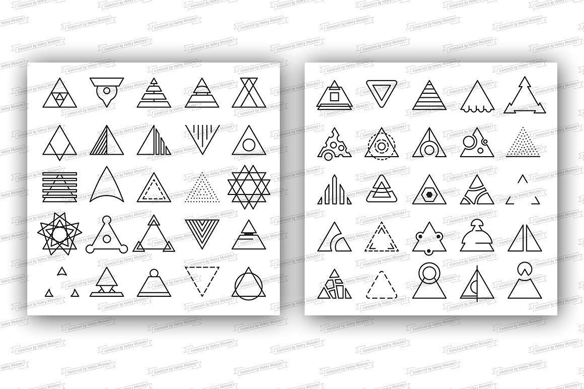 Triangle linear icons watermarkJPGUPDATEvector Icon