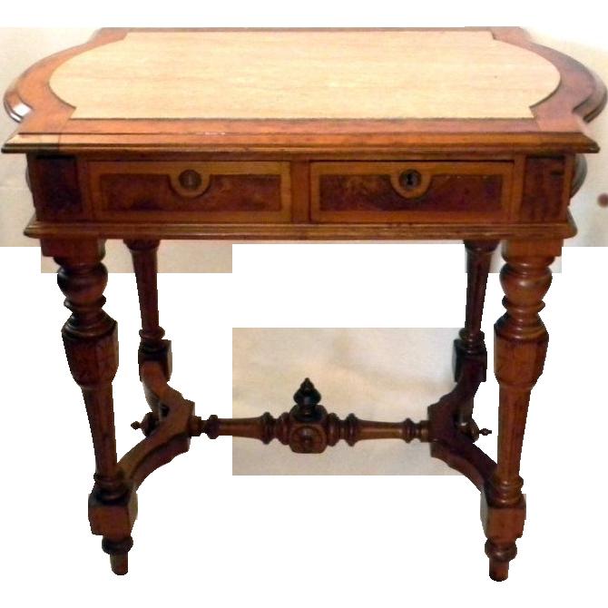 Walnut Burl wood Renaissance Revival Library Table Partners Desk