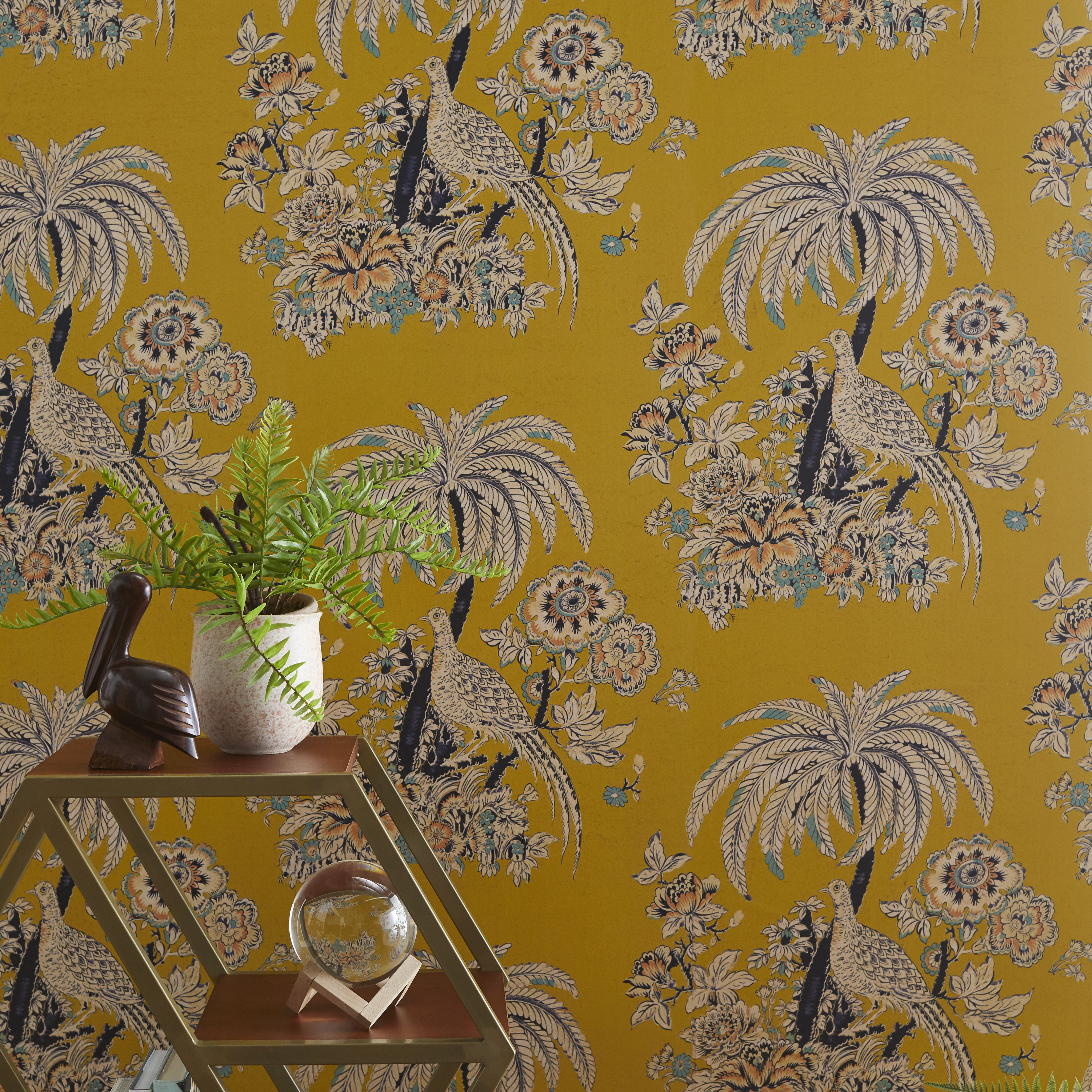 Tropical Toile Peel And Stick Wallpaper By Drew Barrymore Flower Home Yellow Walmart Com Peel And Stick Wallpaper Wallpaper Vinyl Wallpaper